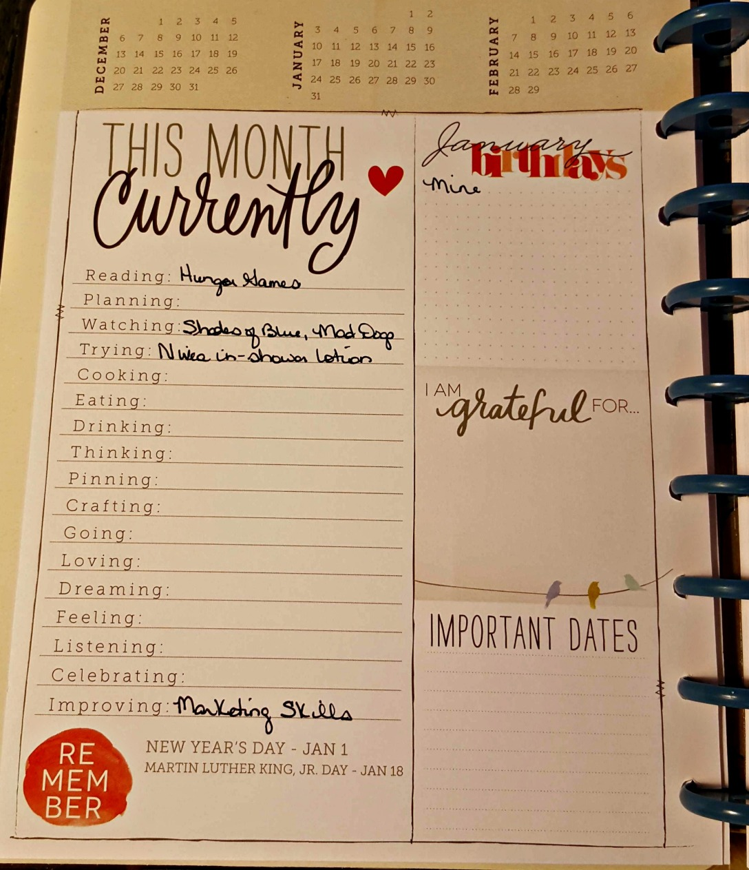 Planner 1st page